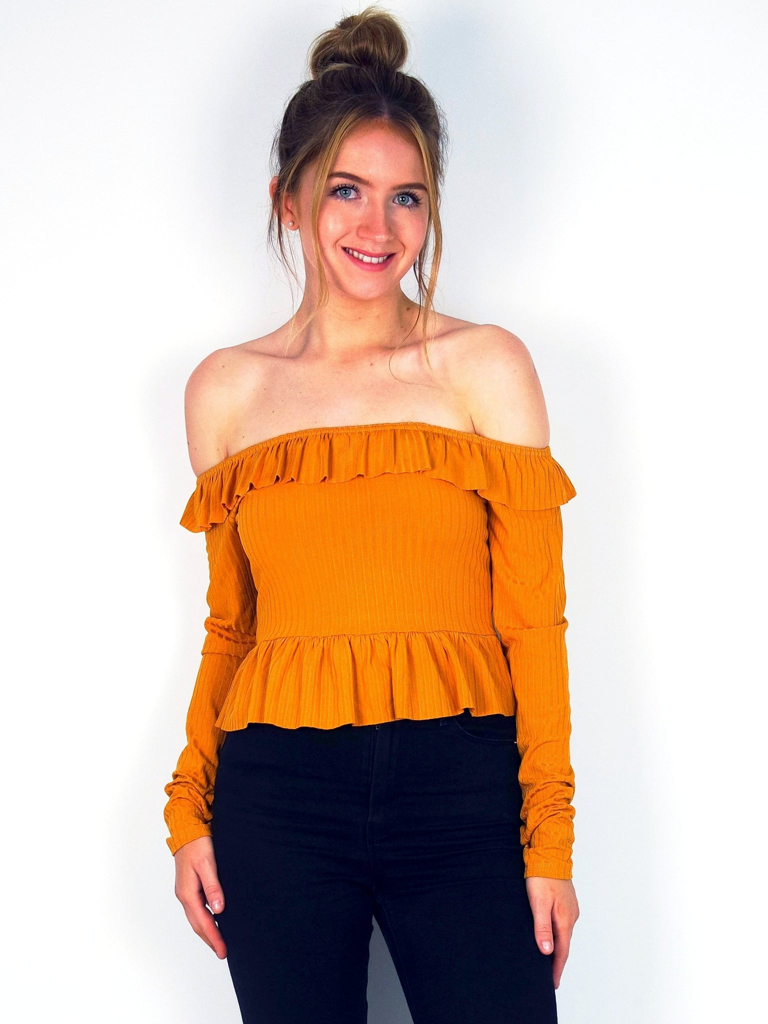 Women's Mustard Yellow Frill Off The Shoulder Crop Top | Boutique