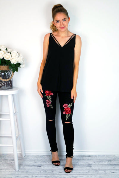 Women's Black Floral Ripped Knee Skinny Jeans | Clothing Boutique