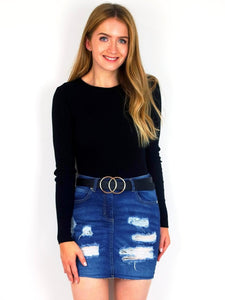 Women's Ripped Blue Denim Distressed Mini Skirt | Clothing Boutique