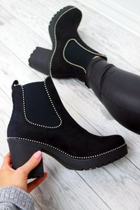 Women's Black Ankle Suede Studded Boots Chelsea Chunky Block High Heel