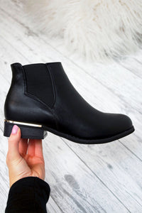 Women's Black Ankle Faux Leather PU Boots Chelsea Biker Low Flat Heel