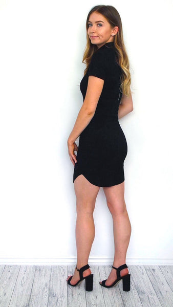 Women's Black Suede Curved Hem Bodycon Dress | Clothing Boutique