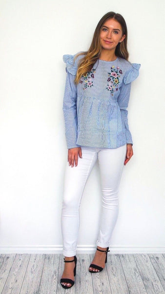 Women's Blue Floral Frill Top | Online Clothing BoutiqueWomen's Blue Floral Frill Boho Chic Top | Online Clothing Boutique