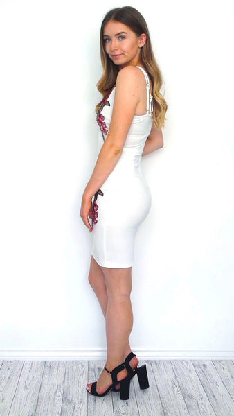 Women's White Floral Embroidered Bodycon Dress | Clothing Boutique