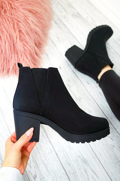 Women's Black Faux Matt Leather Ankle Chelsea Boots High Chunky Heel