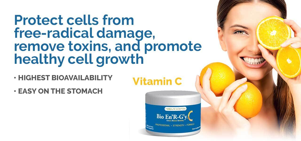Vitamin C protects cells from free-radical damage, removes toxins and promotes healthy cell growth