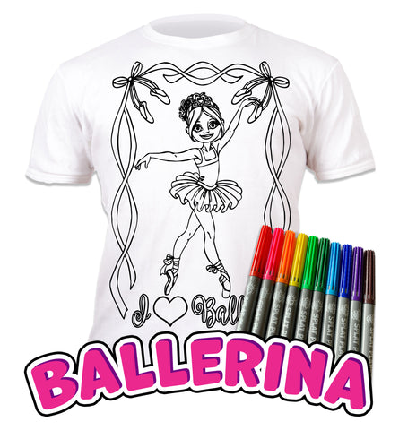 kids, children, chlidrens, colour in t-shirt, art2colour, art 2 colour, splat planet, Butterflies, colouring, colour in, personalise, Magic, Ballerina