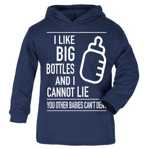 Hipster Baby Cute Funny Unique Kids Hoodie, Perfect new baby gift, I like big bottles and I cannot lie, I like Big butts and I cannot Lie, Blue baby Kids Hoodie