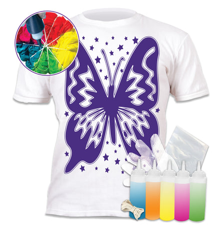 Tie Dye Kit, Vibrant Tie Dye T Shirt, magic Tie Dye kit, Butterfly Tshirt, kids tie dye kit, kids tie dye t-shirt, Butterfly t-shirt for girls, create your own t-shirt, Butterfly gifts for girls, Butterflies and Flowers T-shirt