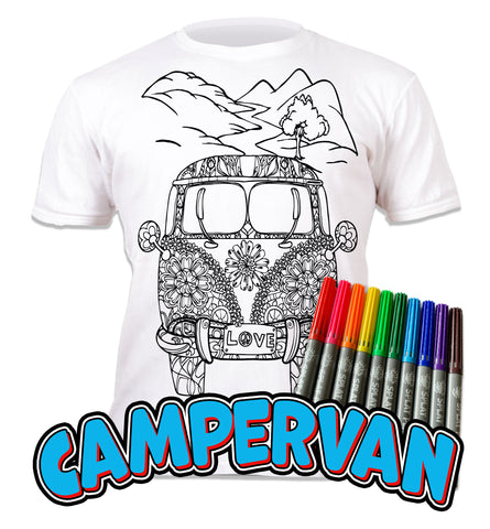 kids, children, eatsleepdoodle, eat sleep doodle, grafix,  chlidrens, colour in t-shirt, art2colour, art 2 colour, splat planet, Campervan, VW, colouring, colour in, personalise, Magic, Goonies, kids gift, unique present, magic t-shirt, magic t-shirt. color in t-shirt, color in tshirt, coloring