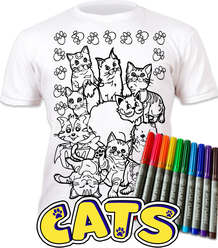 kids, children, eatsleepdoodle, eat sleep doodle, grafix, chlidrens, colour in t-shirt, colour in tshirt, colour in t shirt, color in t-shirt, color in t shirt,  colour in wash out colour in again, magic colouring, fabric pens, splat planet, colouring, colour in, washable pens, magic, toddlers, Kids, magic,  colouring, fabric pens, boys, girls, toddlers, gift, christmas present, unique easter present, easter present, easter gift, kids gift, cats, cats colouring, cats coloring, meow,