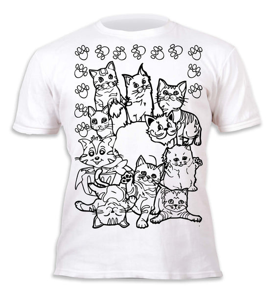 kids, children, chlidrens, colour in t-shirt, art2colour, art 2 colour, splat planet, Butterflies, colouring, colour in, personalise, Magic, Cats, Cat