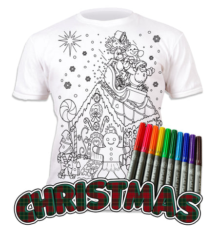 kids, children, chlidrens, eatsleepdoodle, eat sleep doodle, grafix, colour in t-shirt, colour in tshirt, color in t-shirt, color in t shirt, gingerbread, Christmas, festive colour in, wash out, colour in again, magic colouring, fabric pens, splat planet, colouring, colour in, washable pens, magic, toddlers, Kids, magic,  colouring, fabric pens, boys, girls, gift, christmas present, unique gift,
