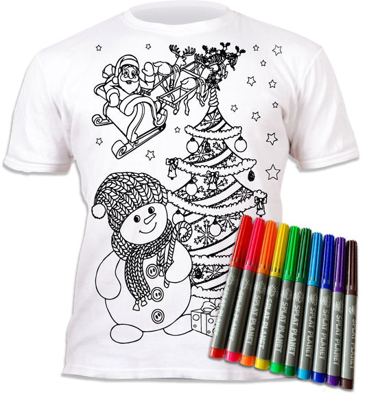 kids, children, chlidrens, eatsleepdoodle, eat sleep doodle, grafix, colour in t-shirt, colour in tshirt, color in t-shirt, color in t shirt, gingerbread, Snowman, Christmas, Santa, Father Christmas, festive colour in, wash out, colour in again, magic colouring, fabric pens, splat planet, colouring, colour in, washable pens, magic, toddlers, Kids, magic,  colouring, fabric pens, boys, girls, gift, christmas present, unique gift,