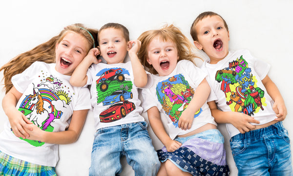 kids, children, chlidrens, colour in t-shirt, art2colour, art 2 colour, splat planet, Butterflies, colouring, colour in, personalise, Magic, Farm