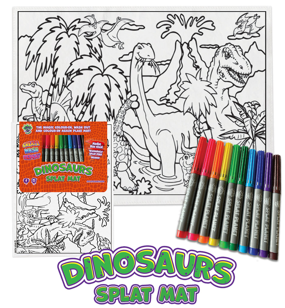 kids, children, chlidrens, eatsleepdoodle, eat sleep doodle, grafix, colour in t-shirt, colour in tshirt, color in t-shirt, color in placemat, place mat, splat mat, Dinosaurs, Dino, Dinosaur, Dinosaur colouring, Trex, Tyrannosaurus, Triceratops, Velociraptor, Stegosaurus, colour in, wash out, colour in again, magic colouring, fabric pens, splat planet, colouring, colour in, washable pens, magic, toddlers, Kids, magic,  colouring, fabric pens, boys, girls, gift, christmas present,