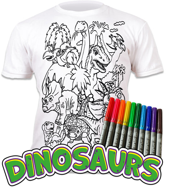 kids, children, chlidrens, eatsleepdoodle, eat sleep doodle, grafix, colour in t-shirt, colour in tshirt, color in t-shirt, color in t shirt, Dinosaurs, Dino, Dinosaur, Dinosaur colouring, Trex, Tyrannosaurus, Triceratops, Velociraptor, Stegosaurus, colour in, wash out, colour in again, magic colouring, fabric pens, splat planet, colouring, colour in, washable pens, magic, toddlers, Kids, magic,  colouring, fabric pens, boys, girls, gift, christmas present, unique easter present,