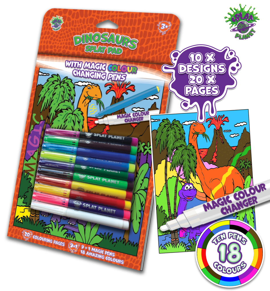 Dinosaurs, T-rex, tyrannosaurus, Triceratops, Velociraptors, Stegosaurus, Apatosaurus, jungle, Fibracolour, fibra colour, magic colour changing pens, colour changing, magic pens, felt tips, Princess colouring book, Mermaid, fairies, Princess, Fairytale, magic colouring book, childrens gift, kids unique present, amazing colouring book,