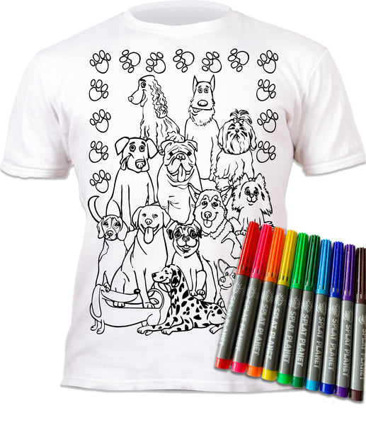 kids, children, chlidrens, eatsleepdoodle, eat sleep doodle, grafix, colour in t-shirt, colour in tshirt, colour in t shirt, color in t-shirt, color in t shirt, Puppy colouring, Crufts, Dogs, Labrador, golden retriever, Dogs colouring, colour in, wash out, colour in again, magic colouring, fabric pens, splat planet, colouring, colour in, washable pens, magic, toddlers, Kids, magic,  colouring, fabric pens, gift, christmas present, unique easter present, easter present, easter gift, kids gift,