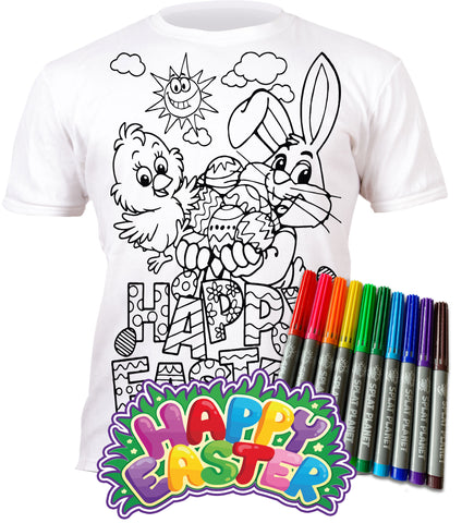 kids, children, eatsleepdoodle, eat sleep doodle, grafix, chlidrens, colour in t-shirt, art2colour, art 2 colour, splat planet, colouring, colour in, washable pens, magic, toddlers, Kids, magic, bunny colouring, Easter bunny colouring, colouring, Easter gift, Easter colouring, fabric pens, boys, girls, toddlers, gift, Easter present,