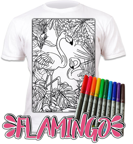 kids, children, chlidrens, eatsleepdoodle, eat sleep doodle, grafix, colour in t-shirt, Flamingo, Flamingo Summer, Flamingo colouring, Summer, Colouring, coloring, art2colour, art 2 colour, splat planet, Flamingo, Animal, Zoo, colouring, colour in, personalise, Magic, Goonies, kids gift, unique present, magic t-shirt, magic t-shirt