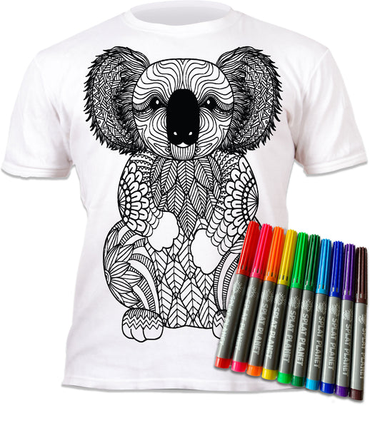 kids, children, chlidrens, colour in t-shirt, art2colour, art 2 colour, splat planet, Flamingo, Animal, Llama, Koala, Aussie, Australia, No drama llama, Zoo, colouring, colour in, personalise, Magic, kids gift, unique present, magic t-shirt, magic t-shirt