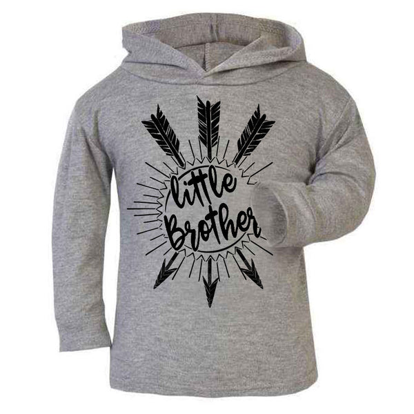 Hipster Cute kids children baby Hoodie, Little Brother Unique baby gift, Grey Kids Hoodie