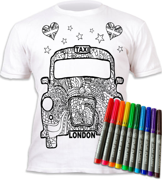 kids, children, chlidrens, colour in t-shirt, eatsleepdoodle, eat sleep doodle, grafix,  splat planet, London Taxi, Souvenir, colouring, colour in, personalise, Magic, kids gift, unique present, magic t-shirt, magic t-shirt