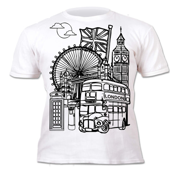 kids, children, chlidrens, colour in t-shirt, art2colour, art 2 colour, splat planet, Butterflies, colouring, colour in, personalise, Magic, London, Union Jack, Taxi, Big Ben, Souvenir