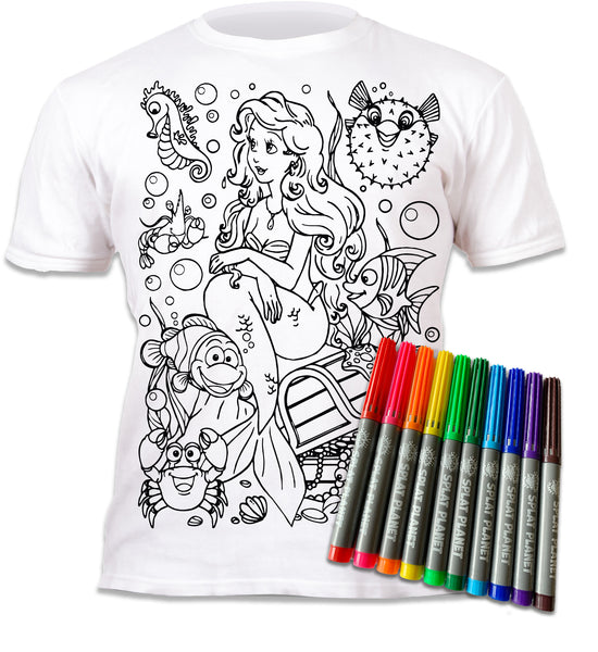 kids, children, childrens, colour in t-shirt, eatsleepdoodle, eat sleep doodle, grafix, splat planet, colouring, colour in, washable pens, magic, toddlers, Kids, magic, footy colouring, Arial colouring, the little mermaid, disney, Disney colouring, mermaid colouring, comic, movie, warner movie, cartoon, Sebastian little mermaid, fish, sea, tshirt, finding nemo colouring, finding dory colouring, finding dory, clown fish, seaweed, fabric pens, boys, girls, toddlers, gift, christmas present,
