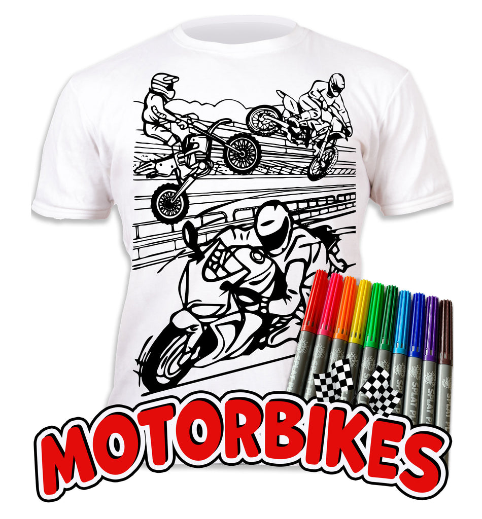 kids, children, chlidrens, eatsleepdoodle, eat sleep doodle, grafix, colour in t-shirt, splat planet, Butterflies, colouring, colour in, personalise, Magic, Motorbikes, Biker
