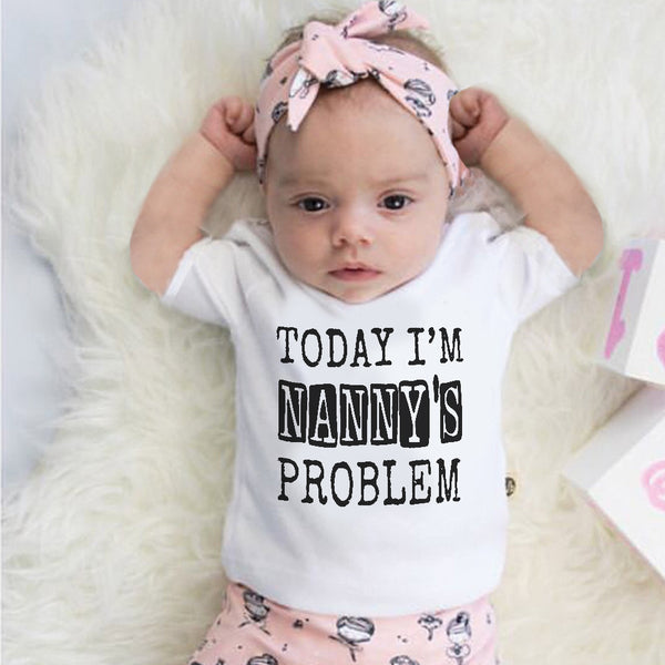 Today I'm Nanny's problem, Today I'm Nanny's problem bib, Funny baby gift, funny baby clothes, funny baby bib, funny baby shower gifts, funny baby grow, baby bibs, baby bibs newborn,