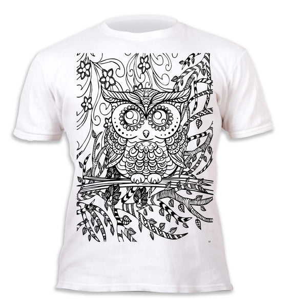 kids, children, chlidrens, colour in t-shirt, art2colour, art 2 colour, splat planet, Butterflies, colouring, colour in, personalise, Magic, Owl, mandala