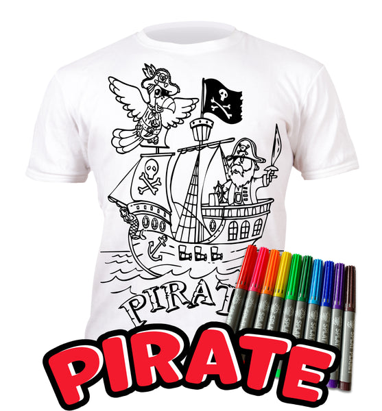 kids, children, chlidrens, colour in t-shirt, eatsleepdoodle, eat sleep doodle, grafix, splat planet, Pirate, colouring, colour in, personalise, Magic, Goonies, kids gift, unique present, magic t-shirt, magic t-shirt