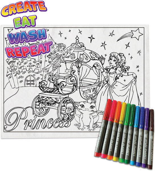 kids, children, chlidrens, colour in t-shirt, eatsleepdoodle, eat sleep doodle, grafix,  splat planet, color in t-shirt, color in t shirt, placemat, place mat, keep kids busy, Princess placemat, Cinderalla, Memaid, the little mermaid, Disney, Unicorn t shirt, rainbow, rainbow colouring, Unicorn colouring, Unicorn coloring, personalise, Magic, kids gift, unique present, magic t-shirt, magic placemat, splat mat, splat planet,