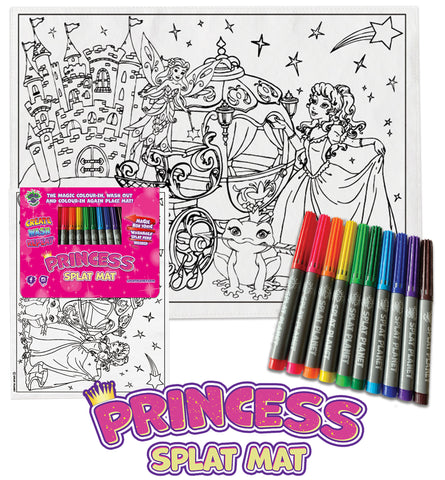 kids, children, Princess castle, fairytale, chlidrens, colour in t-shirt, eatsleepdoodle, eat sleep doodle, grafix,  splat planet, color in t-shirt, color in t shirt, placemat, place mat, keep kids busy, Princess placemat, Cinderalla, Memaid, the little mermaid, Disney, Unicorn t shirt, rainbow, rainbow colouring, Unicorn colouring, Unicorn coloring, personalise, Magic, kids gift, unique present, magic t-shirt, magic placemat, splat mat, splat planet,