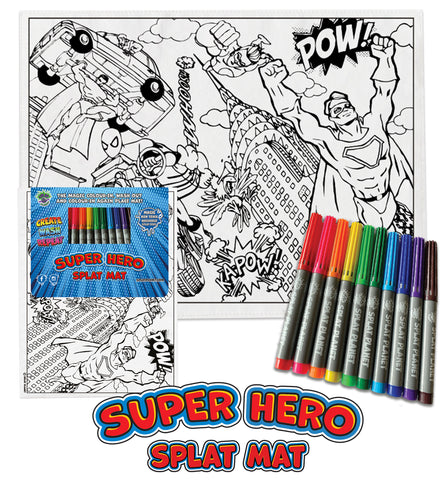 kids, children, eatsleepdoodle, eat sleep doodle, grafix,  placemat, place mat, splat planet, colouring, colour in, washable pens, magic, toddlers, Kids, super hereos colouring, superhero, disney, Disney colouring, superman colouring, superman, super man, captain America, Spiderman, batman, green ivy, robin, iron man, ironman, bat man, hero, superhero, super hero, hereos, save the world, green lantern, marvel, comic, movie, warner movie, fabric pens, boys, girls, toddlers, gift, christmas present