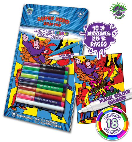 Superhero, Super hero, Spiderman, Batman, colouring, marvel, iron man, Fibracolour, fibra colour, magic colour changing pens, colour changing, magic pens, felt tips, Princess colouring book, Mermaid, fairies, Princess, Fairytale, magic colouring book, childrens gift, kids unique present, amazing colouring book,