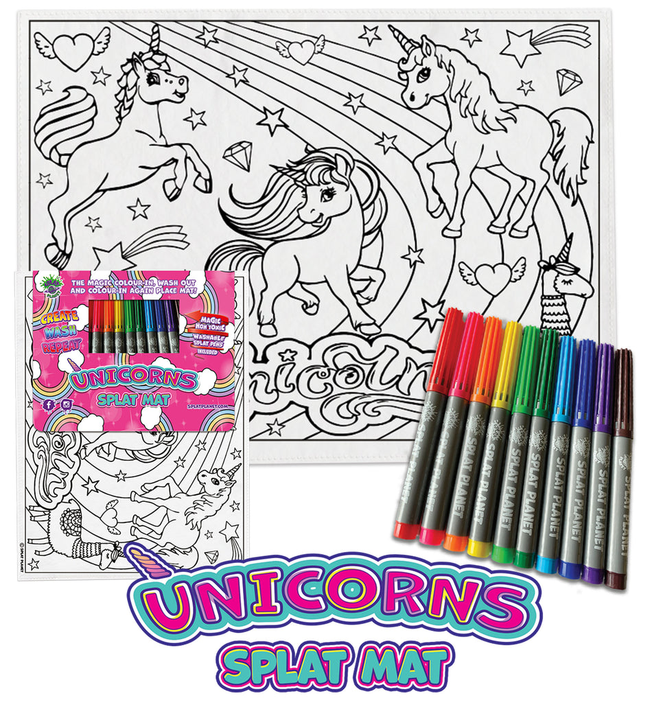 kids, children, chlidrens, colour in t-shirt, eatsleepdoodle, eat sleep doodle, grafix,  splat planet, color in t-shirt, color in t shirt, placemat, place mat, keep kids busy, unicorn placemat, Unicorn, Unique unicorn, Unicorn t shirt, rainbow, rainbow colouring, Unicorn colouring, Unicorn coloring, personalise, Magic, kids gift, unique present, magic t-shirt, magic placemat, splat mat, splat planet,