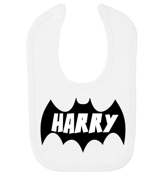 personalised baby, baby bib, personalised new baby gift, personalised bib, new baby, baby gift, personalised bib, personalised superhero t-shirt, superhero, t-shirt, tshirt, personalised, batman, personalised batman, marvel personalised, white tshirt