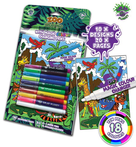 Fibracolour, fibra colour, magic colour changing pens, colour changing, magic pens, felt tips, zoo colouring book, magic colouring book, childrens gift, kids unique present, amazing colouring book,