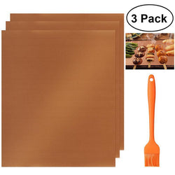 Cooking Help Hq BBQTool Sets 3pcs Non-Stick Reusable BBQ Grill or Kitchen Baking Copper Chef Grill Mats, with brush