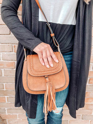 Curved tassel boho purse