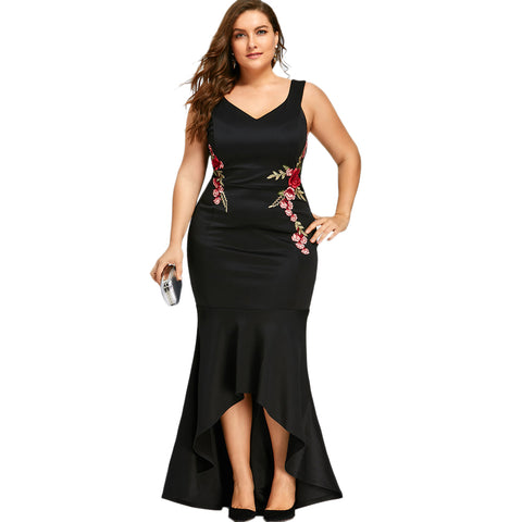 3b94d933685 Embroidery Roses Mermaid Plus Size Dress