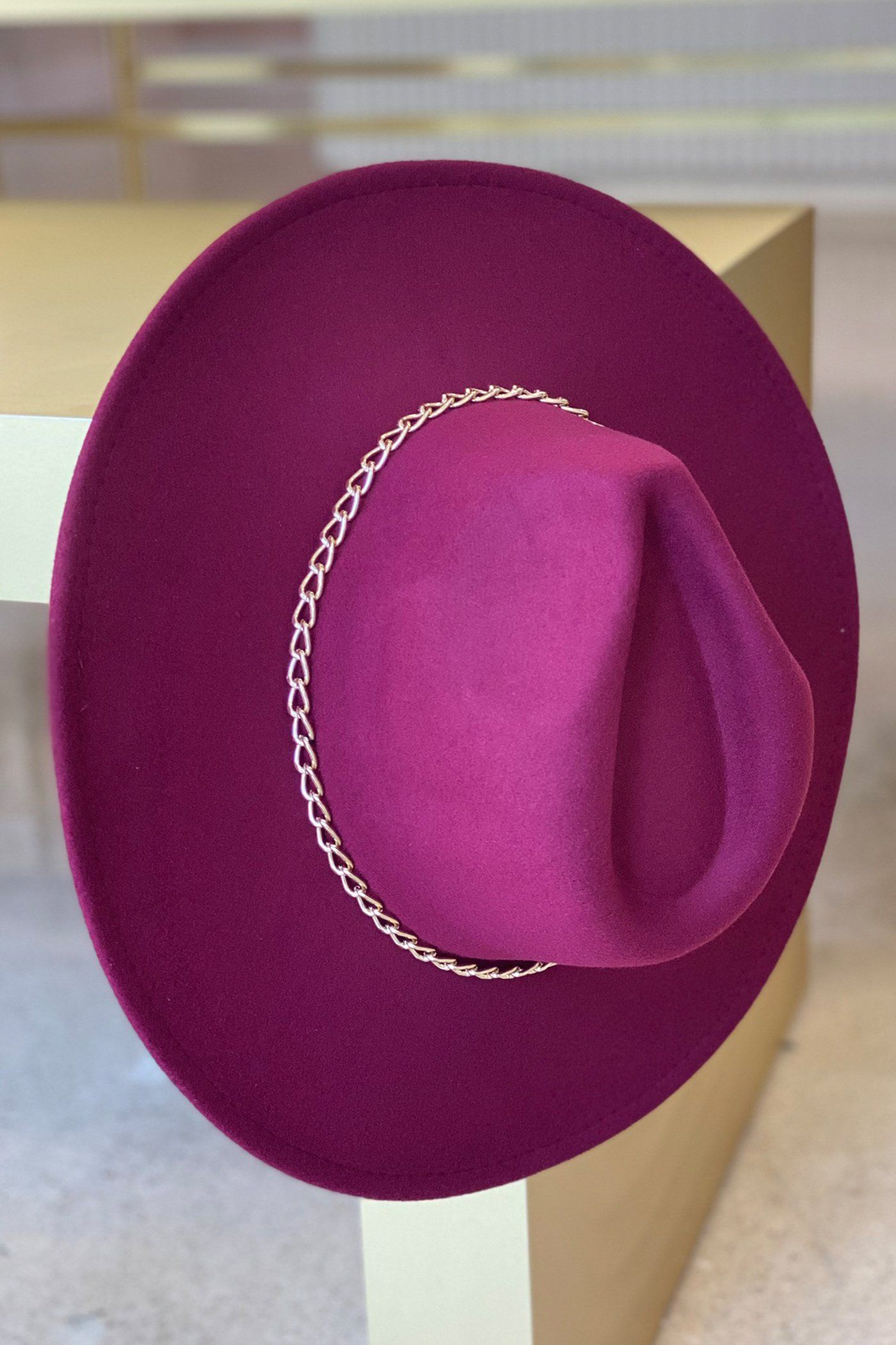 FEDORA HAT - BURGUNDY Lotus Couture
