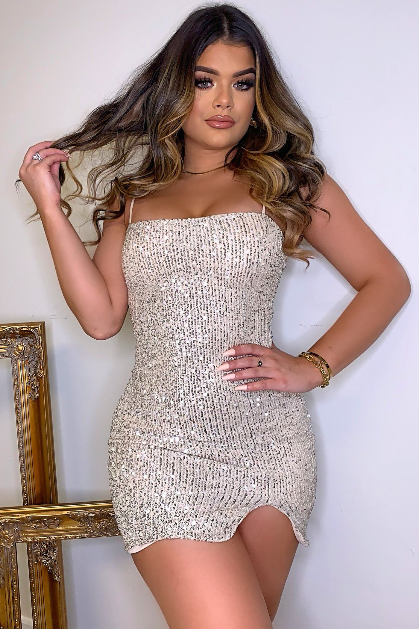 GLAM DRESS - CHAMPAGNE Lotus Couture