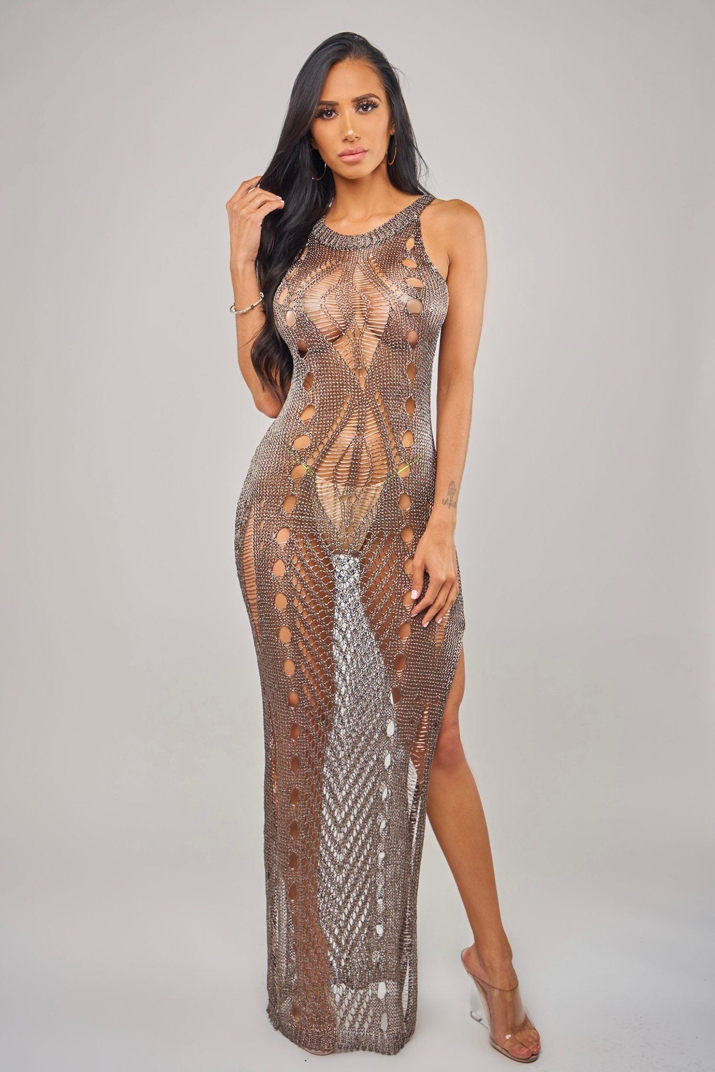 JOELL COVERUP - GREY Beachwear Lotus Couture Miami