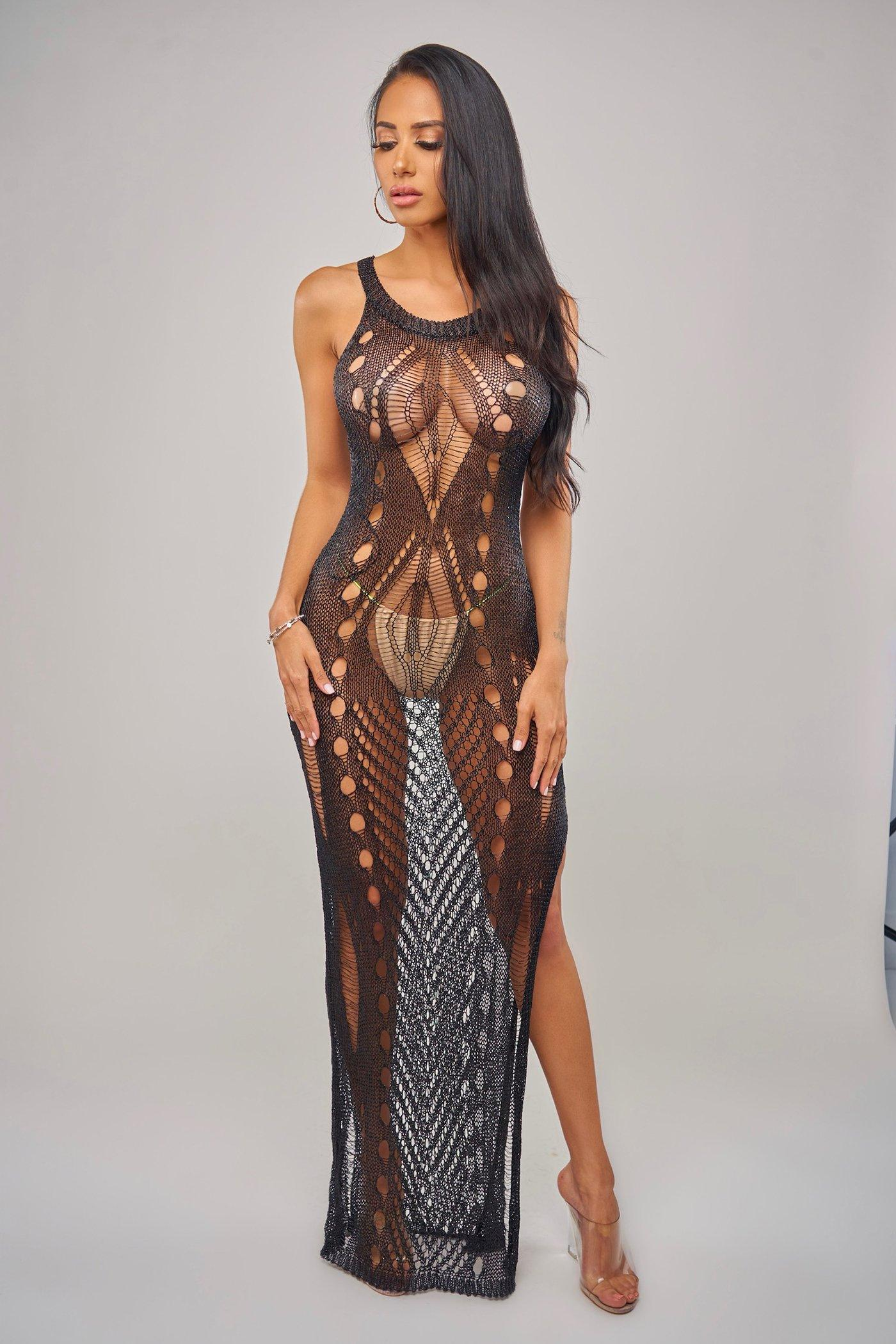 JOELL COVERUP -BLACK Beachwear Lotus Couture Miami
