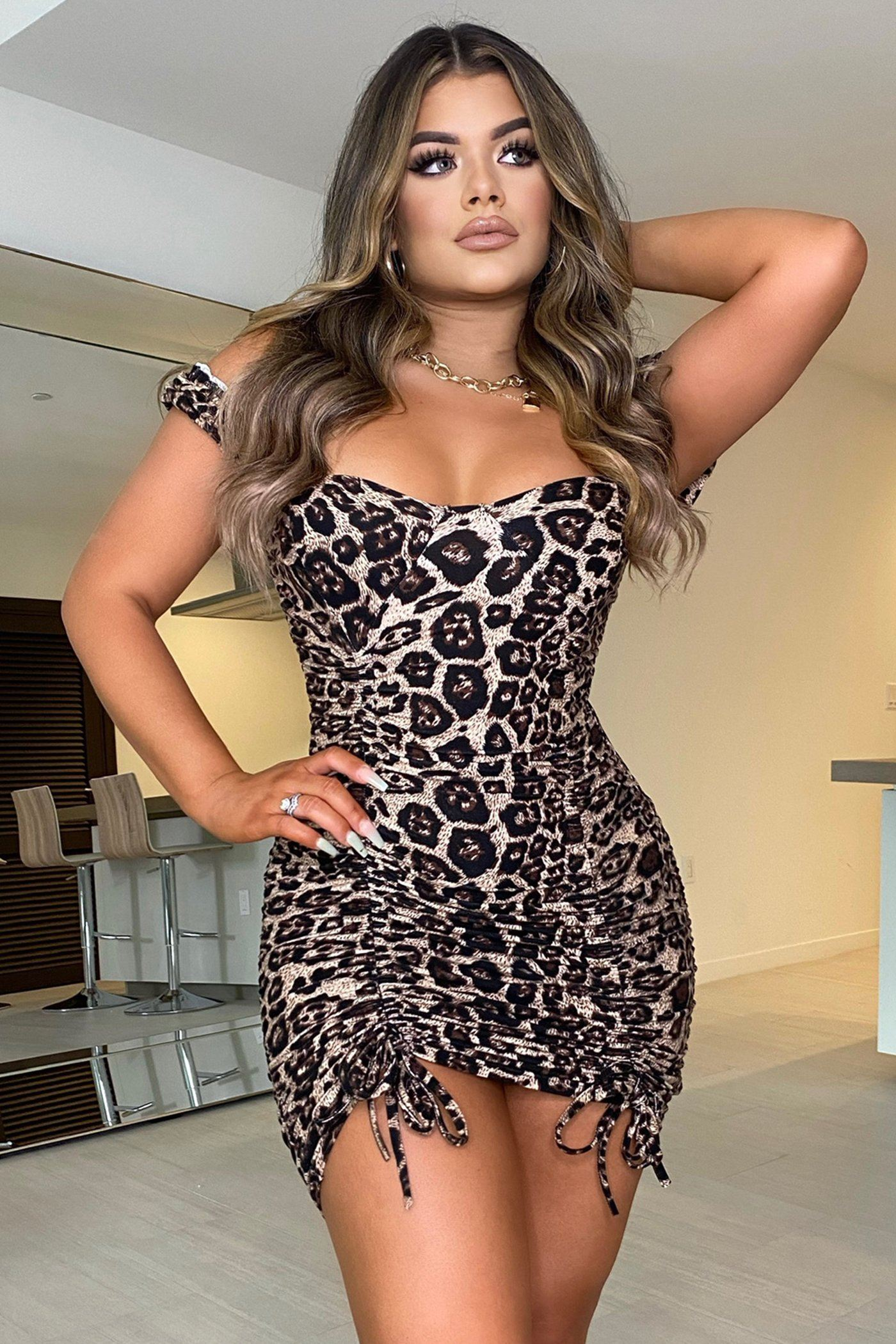 LEXI DRESS-CHEETAH Lotus Couture Miami