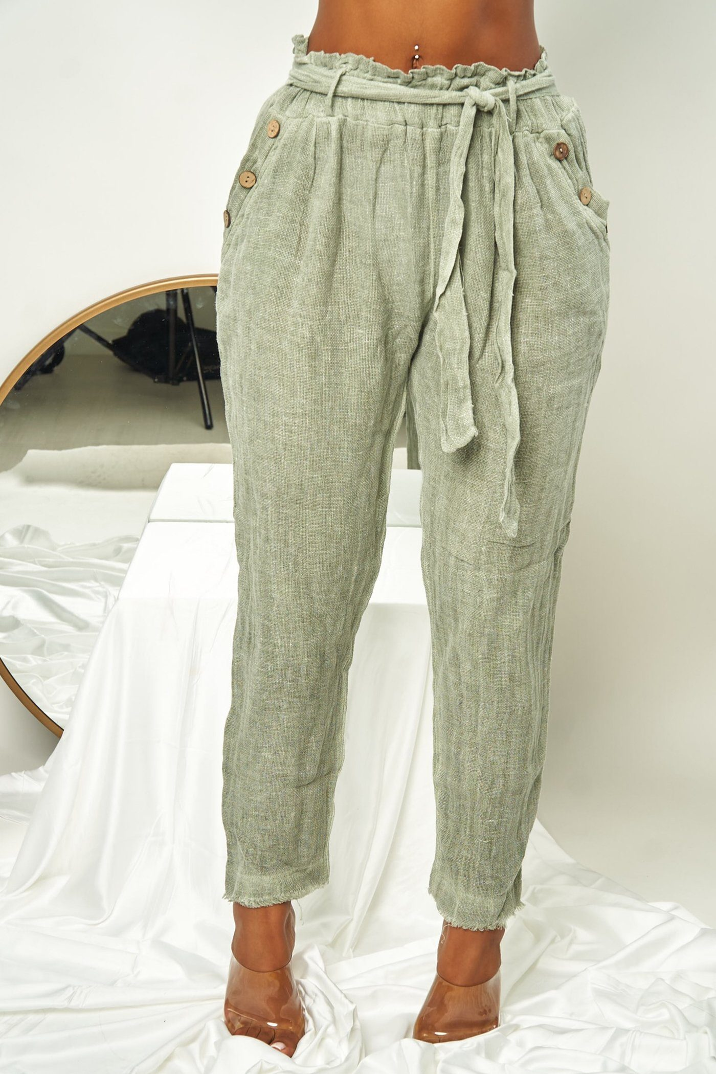 GISELE PANTS - SAGE Lotus Couture Miami